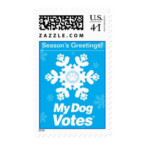 Season's Greetings Stamp From My Dog Votes stamp