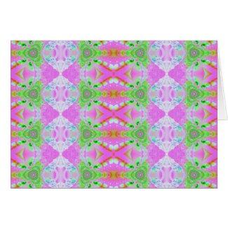 pink fractal pattern card