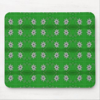 white flowers on green background mousepad