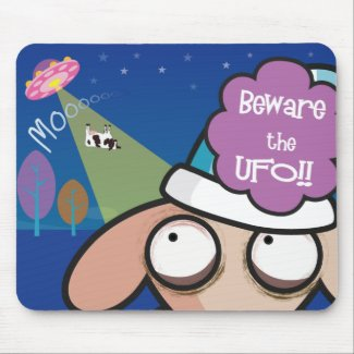 UNSLEEP SHEEP WITH UFO MOUSEPAD mousepad