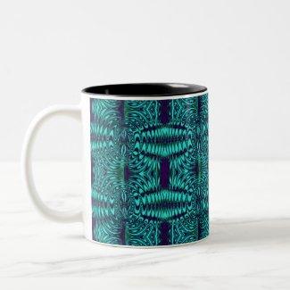 fractal turquoise mug