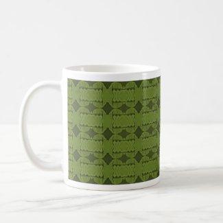 green pattern mug