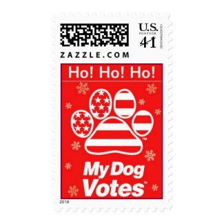 Ho! Ho! Ho! Holiday Stamps From My Dog Votes stamp