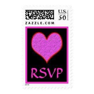 pink heart RSVP stamp