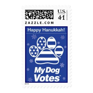 Happy Hanukkah Stamp From My Dog Votes stamp
