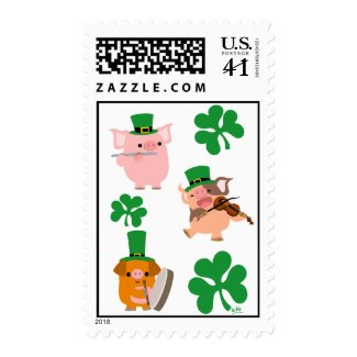 St Patrick's Day little musicians postage stamp stamp