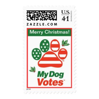 Merry Christmas Holly Stamp From My Dog Votes stamp