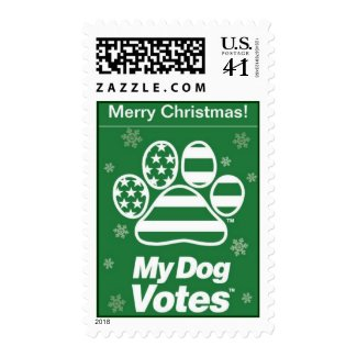 Green Merry Christmas Stamps From My Dog Votes stamp