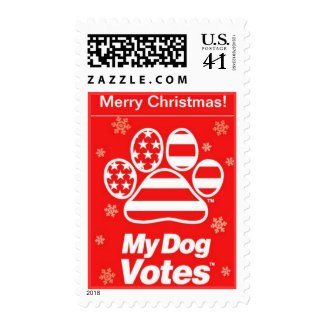 Red MerryChristmas Stamps From My Dog Votes stamp