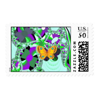 butterfly_flowers stamp