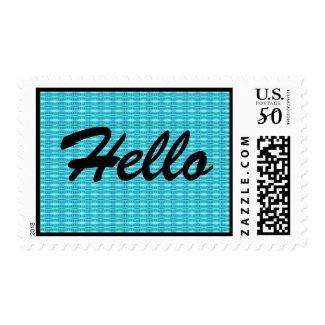 turquoise hello stamp