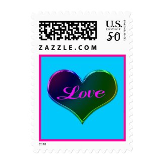 Love turquoise pink stamp