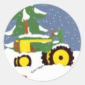 Green Tractor Envelope Seal Winter Sticker sticker