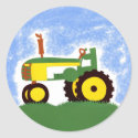Green Tractor with Blue Sky Envelope Seal Sticker sticker