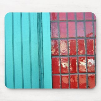 Turquoise Red mousepad