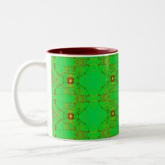 green with red lace mug