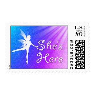 She's Here Baby Girl stamp