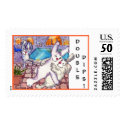 Cartoon rabbits double dips dancing poolside custom postage stamps