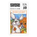 The world is my carrot custom bunny rabbit cartoon postage stamps