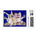 Bunnies on the Moon Dance Custom Postage Stamp