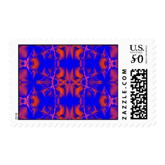 bright blue red stamp