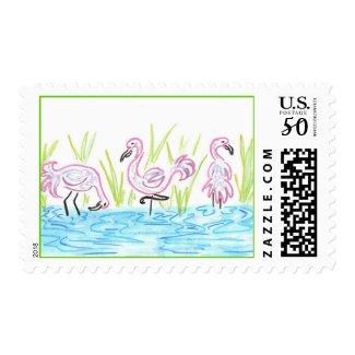 Three Flamingos stamp