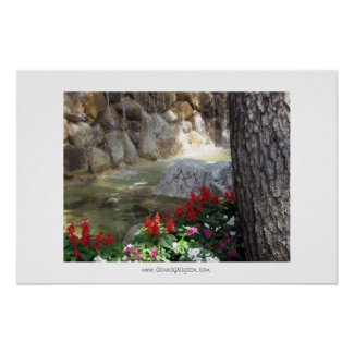 Red Flowers by a Stream Poster or Print