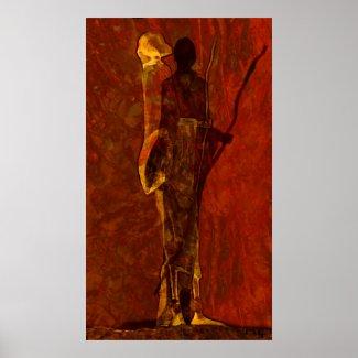 Massaï in reddening sunset poster