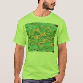 orange green waves shirt